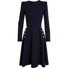 ALEXANDER MCQUEEN Exaggerated Shoulder Button Dress (£1,450) ❤ liked on Polyvore featuring dresses, short dresses, navy dress, navy blue long sleeve dress, blue long sleeve dress, long sleeve short dress and gold long sleeve dress