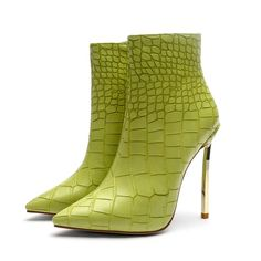 Mstacchi Autumn Winter Shoes For Ladies Green Stone Pattern Sexy High Heels Stilettos Ankle Boots Fashion Snake Skin Shoes Women Leather High Heels, High Heels Stilettos, High Heel Boots, Heeled Boots, Shoe Boots, Ankle Boots, Toe Shoes, Pu Leather, Shoes Sandals