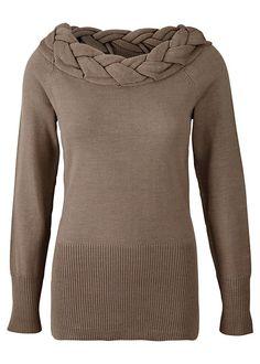 Plait neckline jumper Long jumper with • £29.99 • bonprix Csősál 6322e27d89