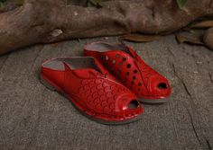 Handmade Women's soft Leather Hollow Sandals by Dwarves on Etsy