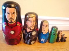 I can't stop giggling... Set of Seven Marvels The Avengers Nesting by AFlashofInspiration, $75.99