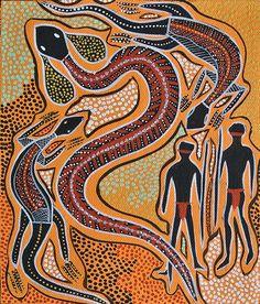 Rainbow Serpent: Billawarra. Aboriginal Art Animals, Aboriginal Painting, Dot Painting, Indigenous Australian Art, Indigenous Art, Native Art, Native American Art, Australian Aboriginals, Rainbow Serpent