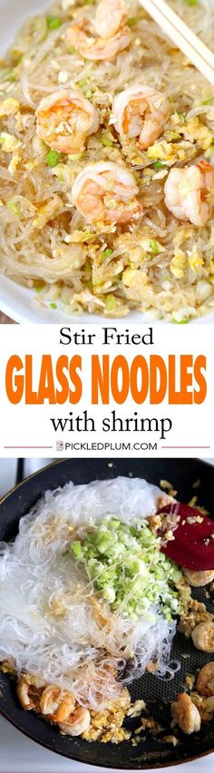 Stir Fried Glass Noodles with Shrimp and Egg - savory and nutty Asian style noodles. We love this for a quick dinner! Recipe, noodles, Asian, stir fry   pickledplum.com