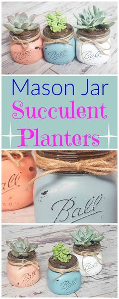 How cute are these mason jar succulent planters! Rustic plant holders that are DIY homemade. #affiliate