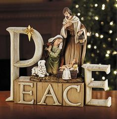 Holy Family Peace Nativity This Christmas statue is sure to bring Peace and love to all whom enter your home. Made of resin Measures inch tall From the Avalon Collection Christmas Nativity Scene, Christmas Figurines, A Christmas Story, Christmas Art, Beautiful Christmas, Christmas Paintings, Christmas Decorations, Religious Gifts, Religious Art