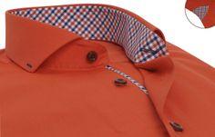 Chemise homme rouge doublure à carreaux col soho, Chemises cintrées - Chemise Homme