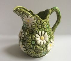Vintage Ardco Pitcher | allover daisy pattern - green & white | by ShopTheHyphenate, $15.00