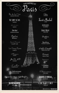 Over 25 Fonts Inspired by Paris by Wanderlust Designer