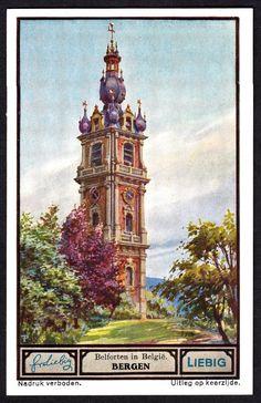 "Liebig Tradecard S1330 - Bergen (Mons) | Liebig's Meat Extract ""Belgian Belfries"" Flemish issue, 1936. Mons, Hainaut"