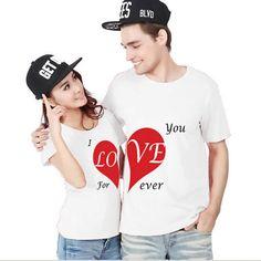 Love You Forever Couple T-Shirts Set Fashion Matching Couple Shirts