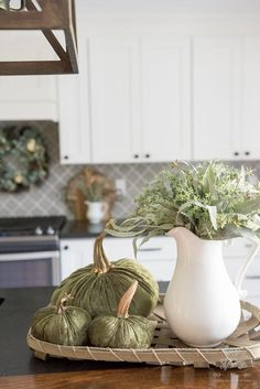 Fall Flower Arrangements and Vignettes - Fall Kitchen Vignette by Home Stories A to Z #fallflowers #falldecor Autumn Decorating, Decorating Your Home, Fall Vignettes, Autumn Inspiration, Kitchen Inspiration, Beautiful Flower Arrangements, Home Decor Kitchen, Kitchen Ideas, Autumn Home