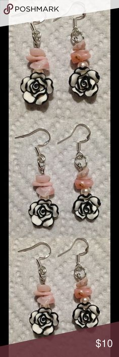 Pink Opal Rose Earrings These cute earrings are made with natural pink Opal chips. The black and white roses are polymer clay. The hooks are sterling silver. These earrings and all PeaceFrog jewelry items are made by me! PeaceFrog Jewelry Earrings