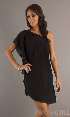 Short Black One Shoulder Dress at PromGirl.com