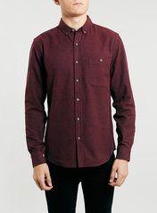 Burgundy Brushed Oxford flannel Shirt