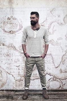 Extremely dapper, this laid-back combo of a white horizontal striped long sleeve henley shirt and grey chinos provides with variety. For a more refined twist, why not introduce a pair of dark brown leather casual boots to the equation? Rugged Style, Mode Masculine, Men Looks, Style Brut, Men's Grooming, Look Fashion, Mens Fashion, Fashion Styles, Fashion Photo