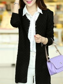 Black Simple Ladies Solid Color V Neck Pockets Button Knit Cardigan