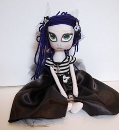 Maureen Gothic Cloth Art Rag Doll by OCRPrimitiveArts on Etsy, $75.00