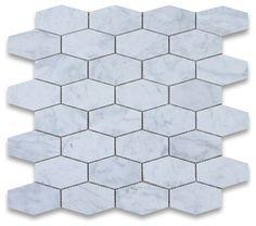 Carrara Marble Elongated Hexagon Mosaic Tile Polished traditional-floor-tiles