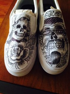 Traditional+ChicanoStyle+Tattooed+Shoes++by+OBrienTattooedShoes,+$75.00. #tattoo