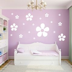 Set of Flowers Flowers and Shapes Wall Decals and Stickers