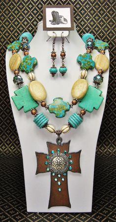 TURQUOISE / GREEN Chunky Statement Cowgirl by CayaCowgirlCreations, $60.50