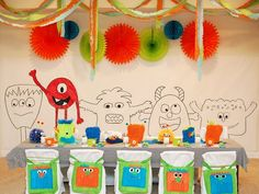 I found the cutest boys monster birthday party idea.  It reminded me of the same monsters that are on Jonas' quilt my mom made him.