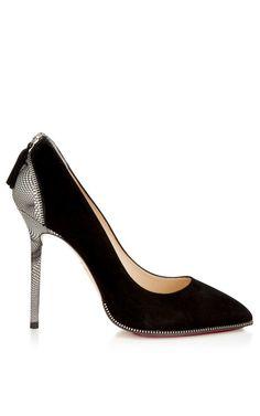 Shop Monroe Unzipped Pump In Black by Charlotte Olympia for Preorder on Moda Operandi