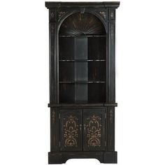 Bookcases Black Corner Bookcase with 3 Shelves and 2 Doors b ...