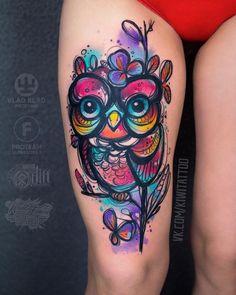 colorful owl tattoo by ©vika_kiwitattoo