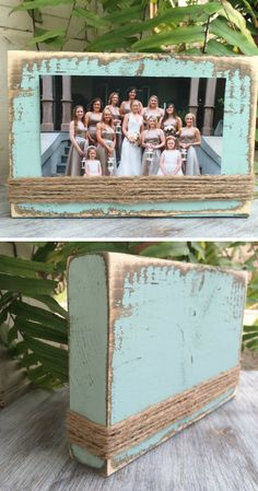 Simple farmhouse style picture frame wood block frame Farmhouse style decor teacher gift bridesmaid gift rustic housewarming gift idea home decor office decor rustic decor Cadre Photo Simple, Cadre Photo Diy, Diy Home Crafts, Crafts To Sell, Fun Crafts, Wall Decor Crafts, Rustic Picture Frames, Picture On Wood, Picture Frame Crafts