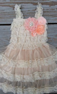 Peach Flower Girl-Lace Flower Girl Dress  by CountryCoutureCo