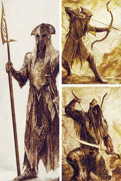 The Elves of Mirkwood by Weta. Elfos. The hobbit. El hobbit. TLOTR. ESDLA. Debuxos. Dibujos. Drawings