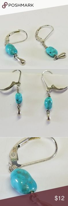 Turquoise 925 earrings Sterling dangle earring with turquoise colored stones. native Jewelry Earrings