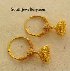 kids jhumkas Gold Earrings For Kids, Kids Earrings, Jewelry Design Earrings, Gold Earrings Designs, Jhumka Designs, Ear Jewelry, Jewellery Designs, Real Gold Jewelry, Gold Jewelry Simple