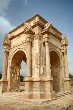 The RomanArch of Septimius Severus. Located inone of the most beautiful cities of the Roman Empire:Leptis Magna, Libya.Photo courtesy ofDavid Gunn. #ancientarchitecture