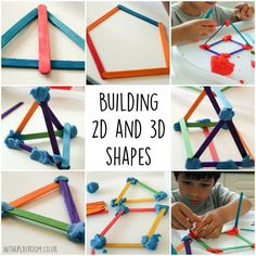 building 2d and 3d shapes with craft sticks and playdough