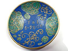 Wedding Ring Holder- Emerald & Sapphire Ring Dish- Polymer Clay Dish- Personalized Ring Dish- Trinket Dish - pinned by pin4etsy.com