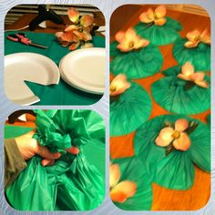 Lily Pads - DIY only 5 items. Scissors, 8 foam plates, glue gun, 1 green plastic tablecloth, 8 flowers (1stem/bunch) cut from stem. 1) cut wedge from plates 2) cut tablecloth into 8 pieces evenly, 3) place plate upside down 4) press plastic into wedge and then twist the plastic into two parts and tie into loose knot 5) hot glue flower into middle of knotted area. Perfect to float in pool, place in middle of table for place setting, and use for VBS decor or Little Mermaid party.