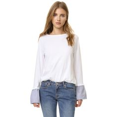 Clu Ruffle Cuff Long Sleeve Tee ($105) ❤ liked on Polyvore featuring tops, t-shirts, white, white shirts, long sleeve shirts, long sleeve stripe shirt, white t shirt and striped t shirt