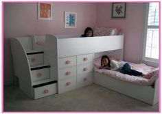 Sumptuous Awesome Kids Bedroom Bed Style, Wall Mounted L Shape Wooden White Pink Girls Bedroom Frame Storage Bunk Beds Plus Pink Patterned Bedding Sets. Awesome And Gorgeous Kids beds Designs Bunk Beds With Storage, Cool Bunk Beds, Bunk Beds With Stairs, Bunk Bed With Slide, Toy Storage, Girls Bunk Beds, Bunk Bed Rooms, Kid Beds, Twin Girls