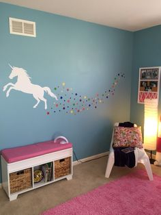 Unicorn Decal Magical Legend Wall Stars Baby Children Fairy Tale Storybook Fable Horse Dream Playroom  1 - Unicorn • 22H x 33W 20 - Large Stars • 2 Diameter 25 - Small Stars • 1 Diameter Colors Used: 010 - Snow White 025 - Lemon Slice  ***Pick 2 colors please***  ****If you would like the rainbow stars, please convo us!  CHOOSE COLORS_______________________________________________________  ****Be sure to choose colors and include them in your order message! If no colors are chosen, order…