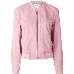 Helmut Lang Classic Bomber Jacket (8.514.300 IDR) ❤ liked on Polyvore featuring outerwear, jackets, coats, blazer, casacos, lamb leather bomber jacket, helmut lang jacket, lambskin bomber jacket, pink jacket and flight jacket