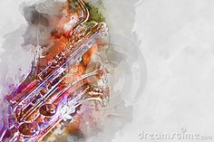 Illustration about Saxophone. Watercolor art for your design. Illustration of audio, pattern, digitally - 70942776 Watercolor Drawing, Watercolor Illustration, Saxophone, Your Design, Drawings, Pattern, Insects, Design Ideas, Cartoon