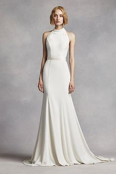 White by Vera Wang for David's Bridal High Neck Halter Wedding Dress