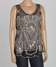 Another great find on #zulily! Black & White Embroidered Scoop Neck Tank - Plus #zulilyfinds