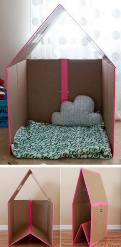 The best DIY projects & DIY ideas and tutorials: sewing, paper craft, DIY. Diy Crafts Ideas rainbowsandunicornscrafts: DIY Recycled Box Collapsible Play House from She Knows here. For more play houses and forts go here: Cool Diy, Fun Diy, Clever Diy, Easy Diy, Cardboard Playhouse, Diy Cardboard, Cardboard Kitchen, Diy Playhouse, Cardboard Box Ideas For Kids