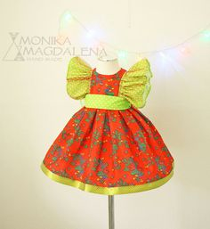 Dress baby  girls Christmas colors  made from by MonikaMagdalenaHM