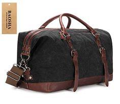 BAOSHA Oversized Canvas PU Leather Travel Tote Duffel Bag Weekender Overnight Bag (Black)