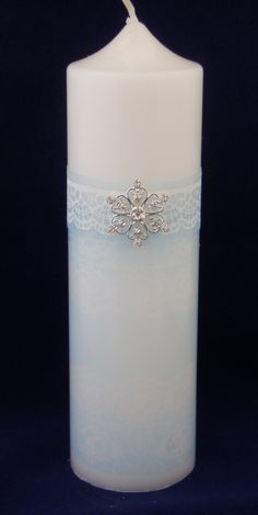 Personalised Lace Design with Diamante Flower Wedding Candle by TheCandleandCardCo on Etsy