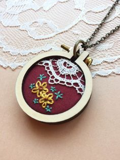 Hand Embroidered Mini Embroidery Hoop Necklace Featuring Vintage Lace: Burgundy by PlaidLoveThreads on Etsy